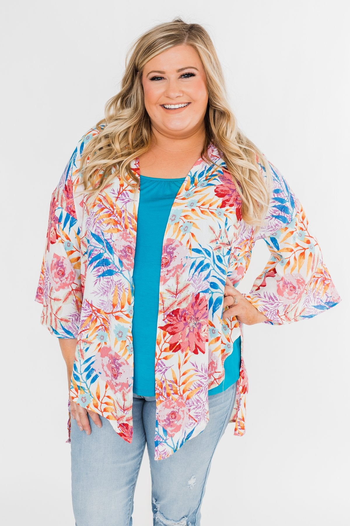 On Tonight Tropical Kimono- Multi