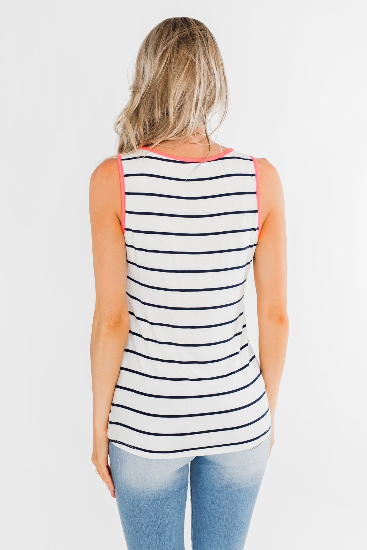 Only For Tonight Striped Tank Top- Navy & Pink