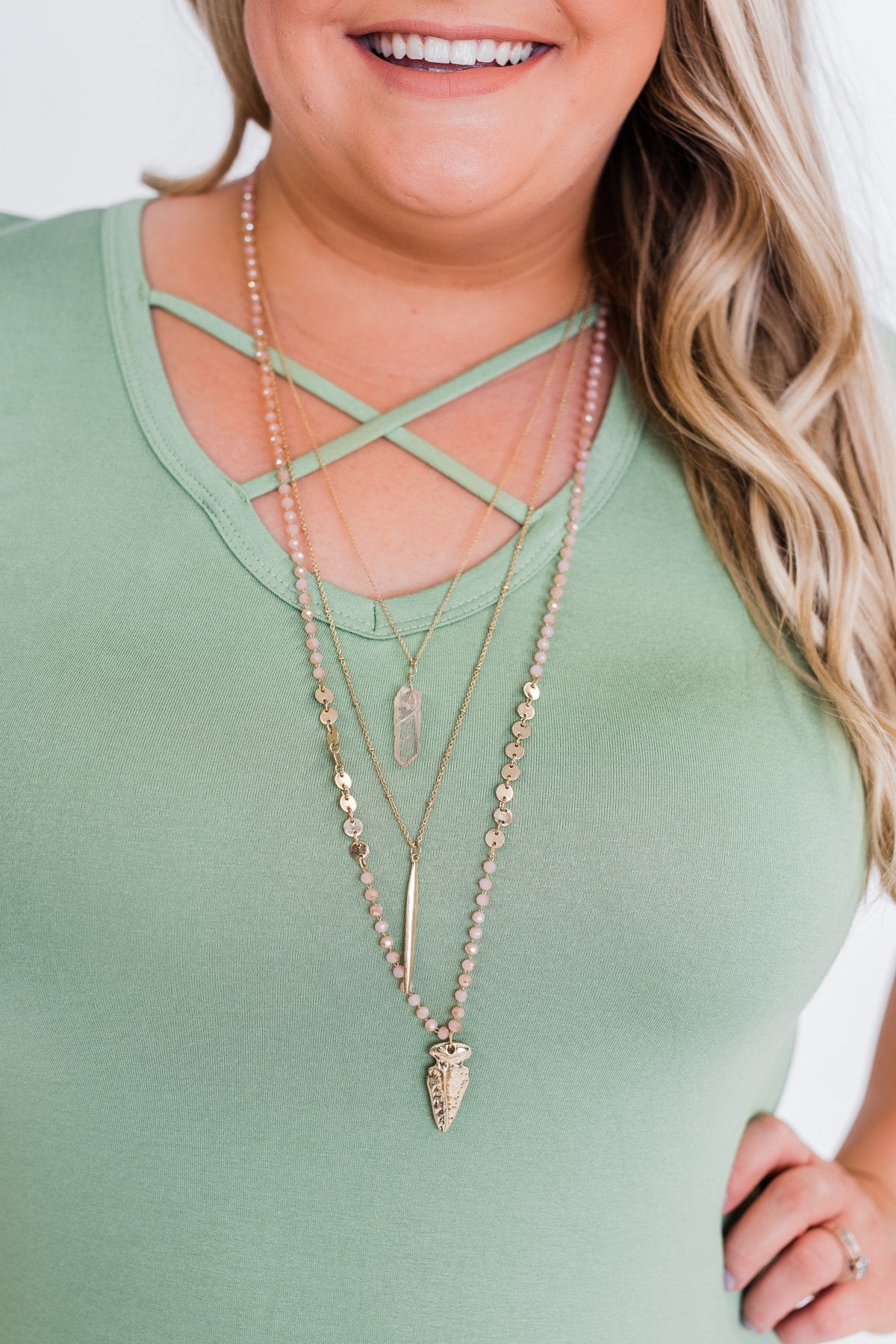 Arrow and Bead Long Necklace- Pink & Gold