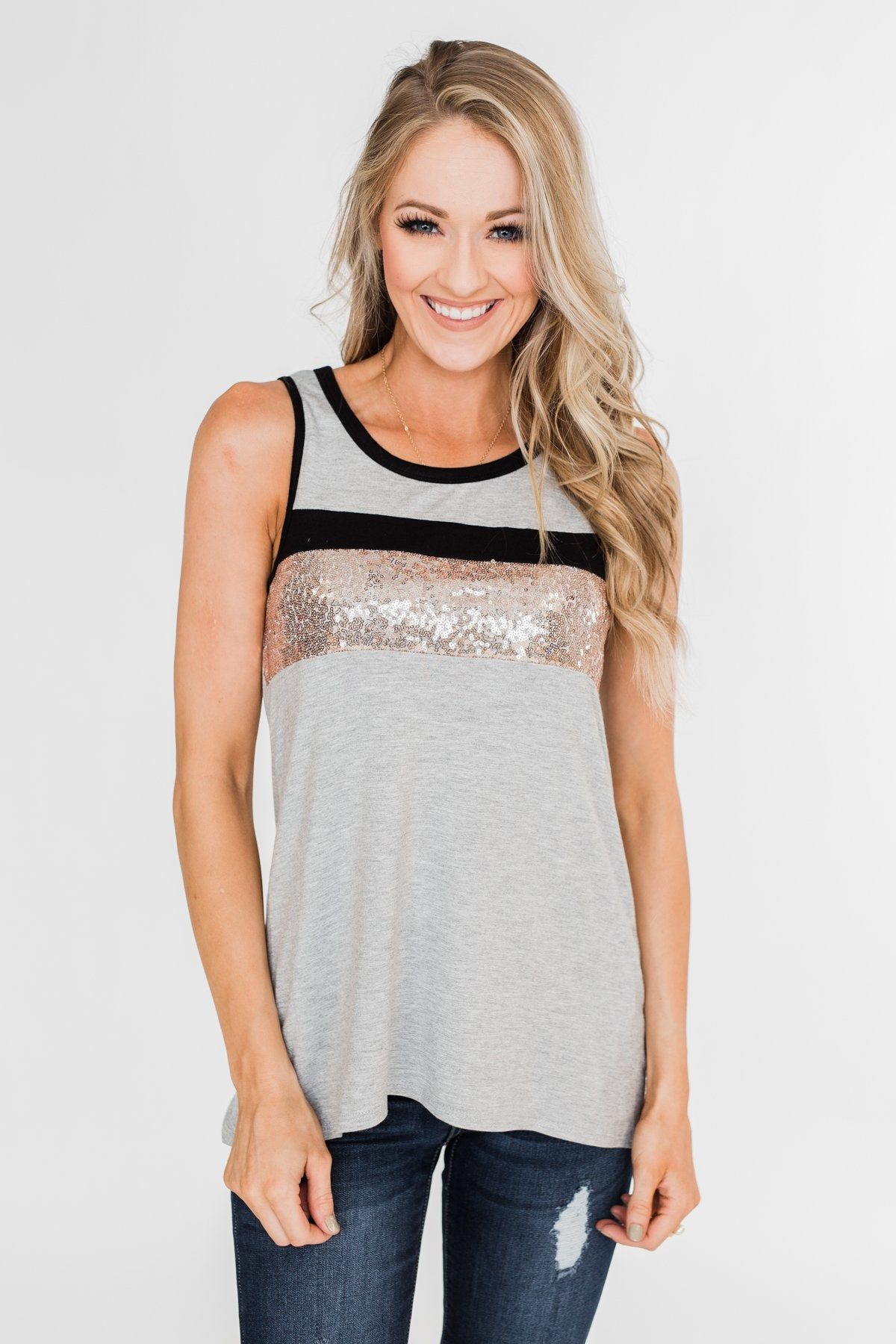 Sparkle In The Sun Sequin Tank Top- Heather Grey