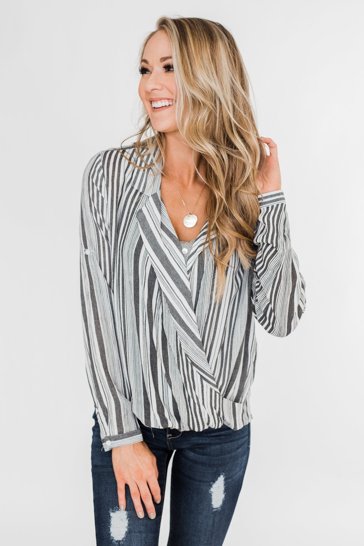 When You're Around Long Sleeve Striped Top- Charcoal & Ivory