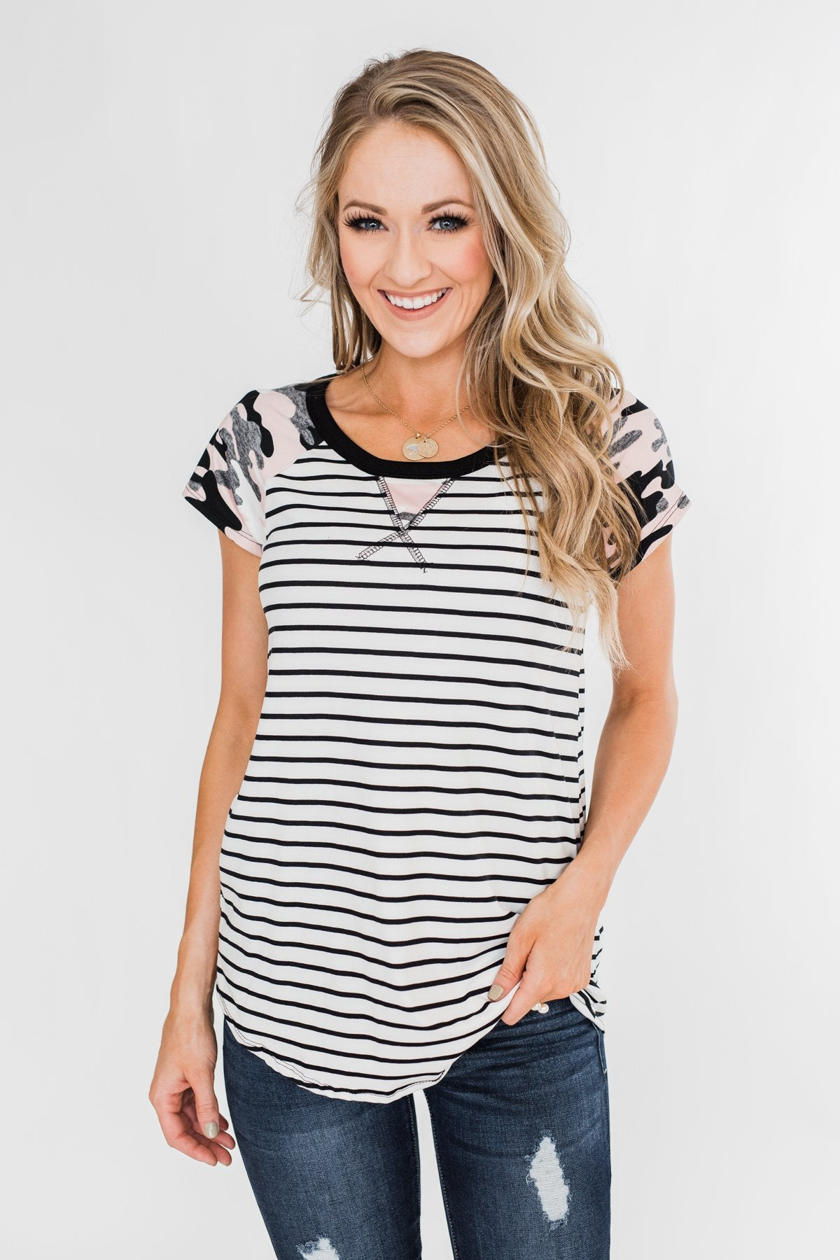 Short Sleeve Camo & Stripes Top- Pink Camo & Ivory