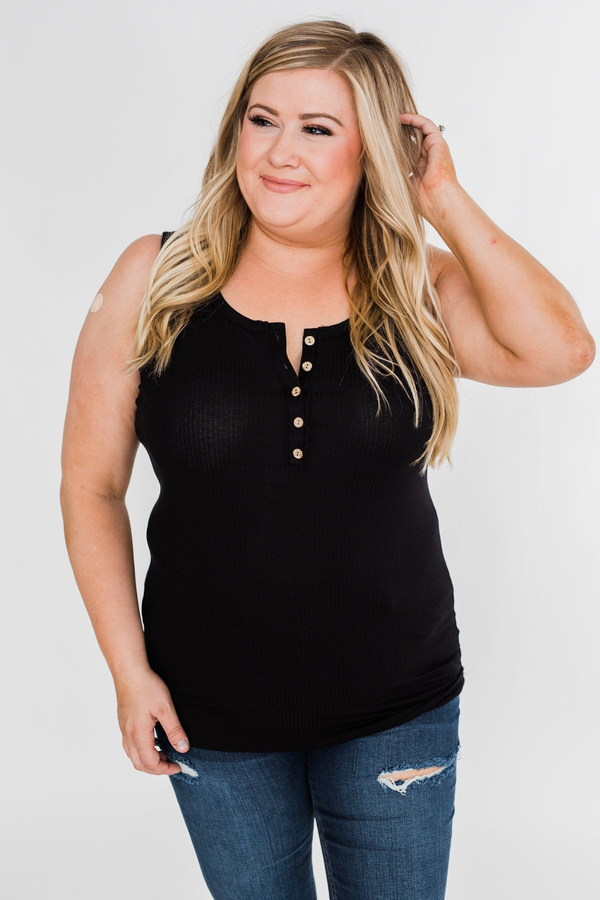 5-Button Henley Tank Top- Black