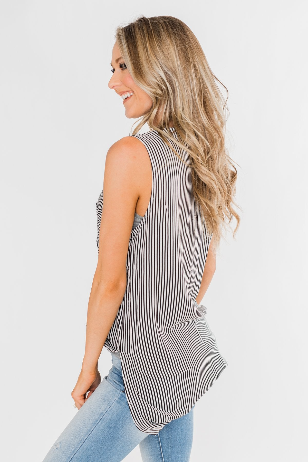 When You Smile Striped Tank Top- Black & White