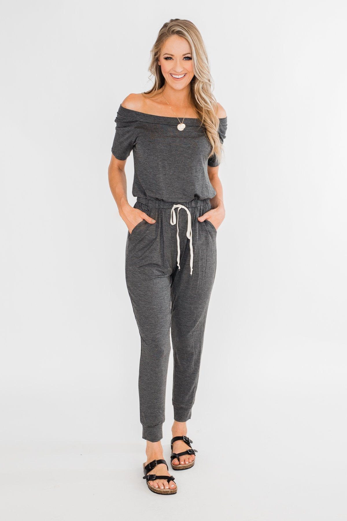 Living My Life Drawstring Jogger Jumpsuit- Charcoal