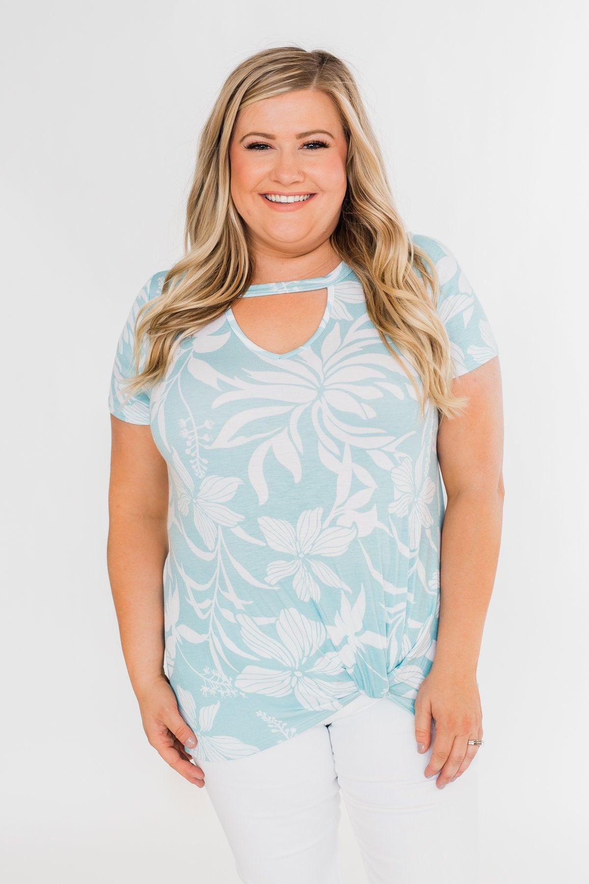 Tropical Adventure Knot Top- Light Blue