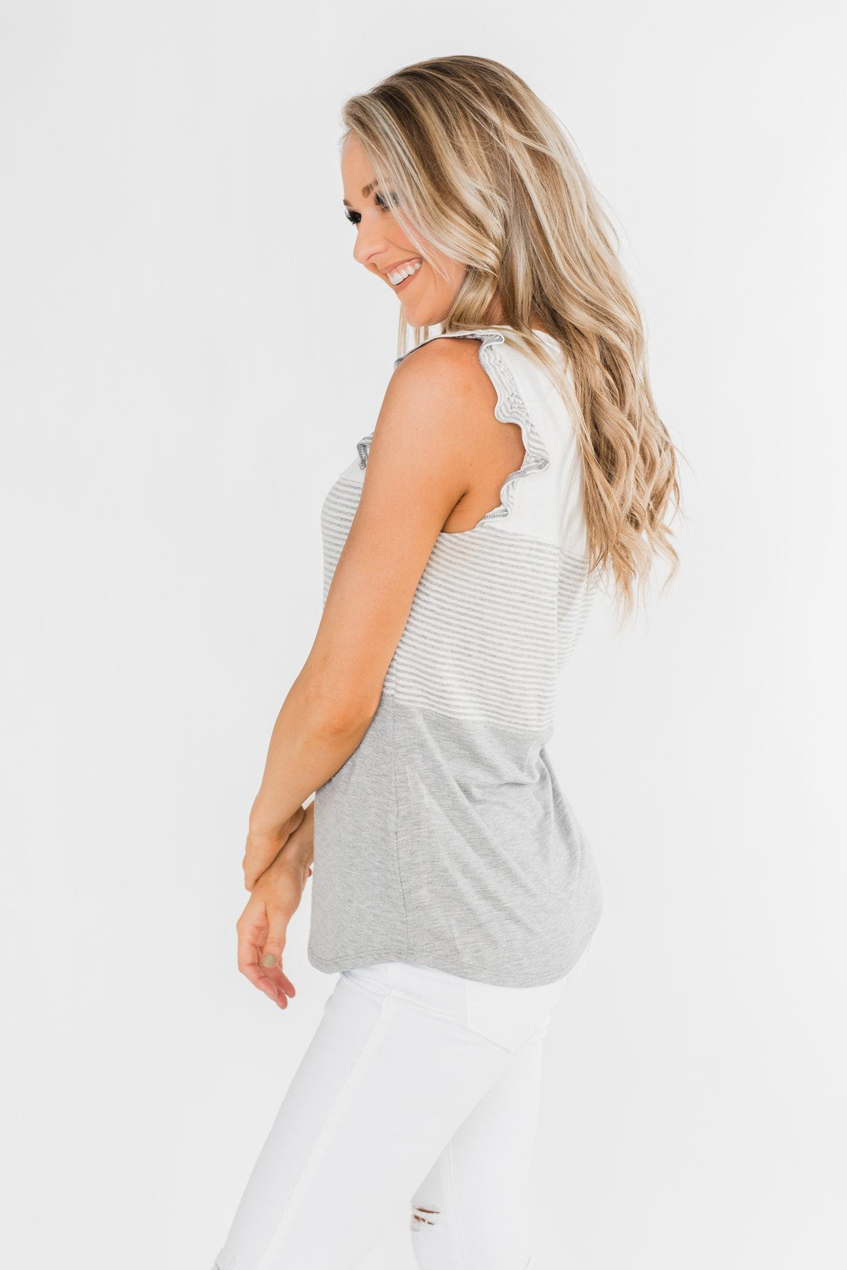 The Sweetest Thing Color Block Tank Top- Grey