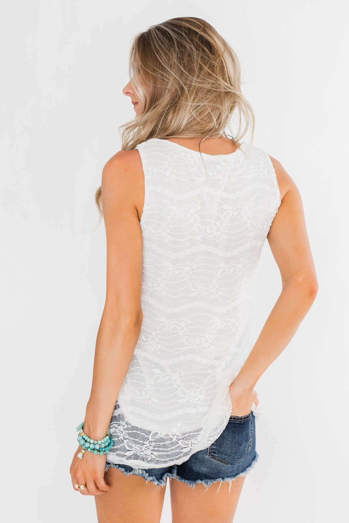 The Perfect Choice Lace Tank Top- Ivory