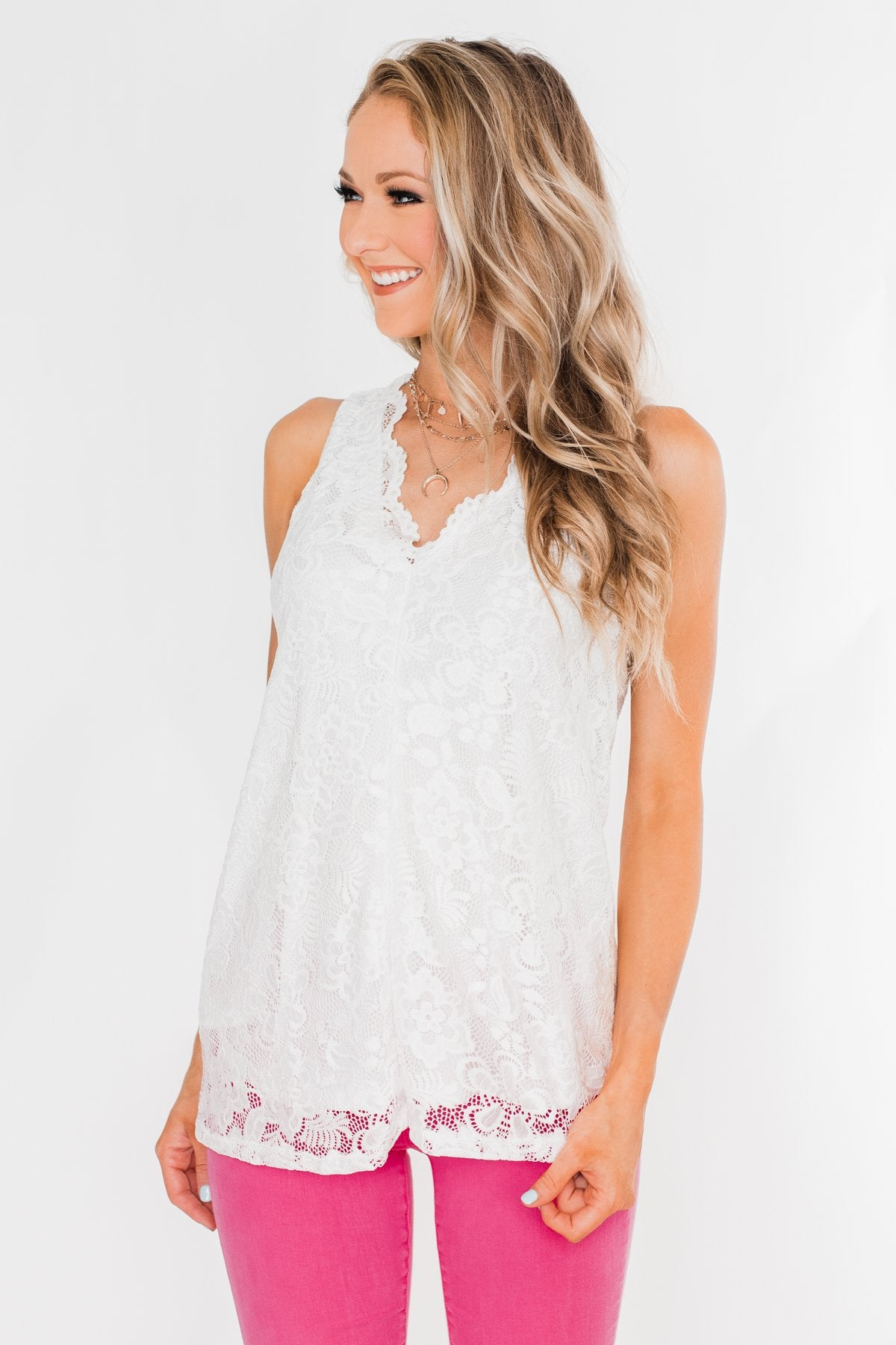 Cheers To Us V-Neck Lace Tank Top- Off White