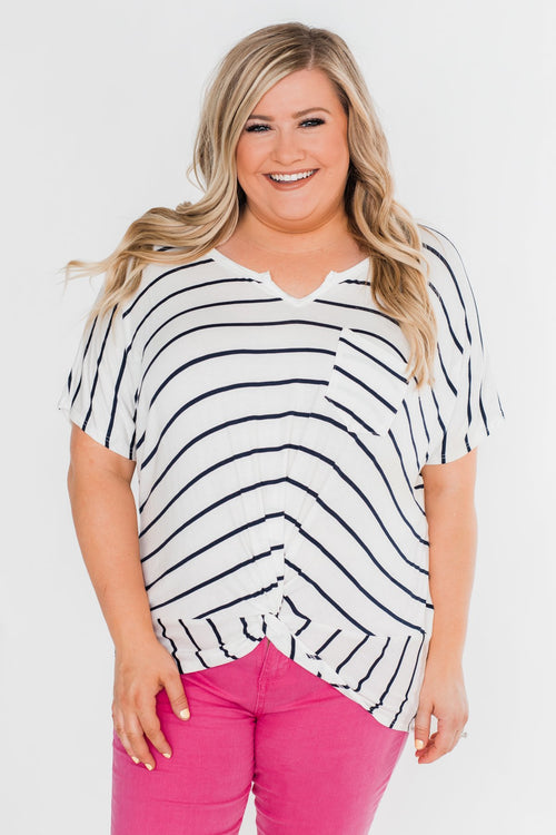 Love Has A Way Short Sleeve Dolman Top- Ivory & Navy