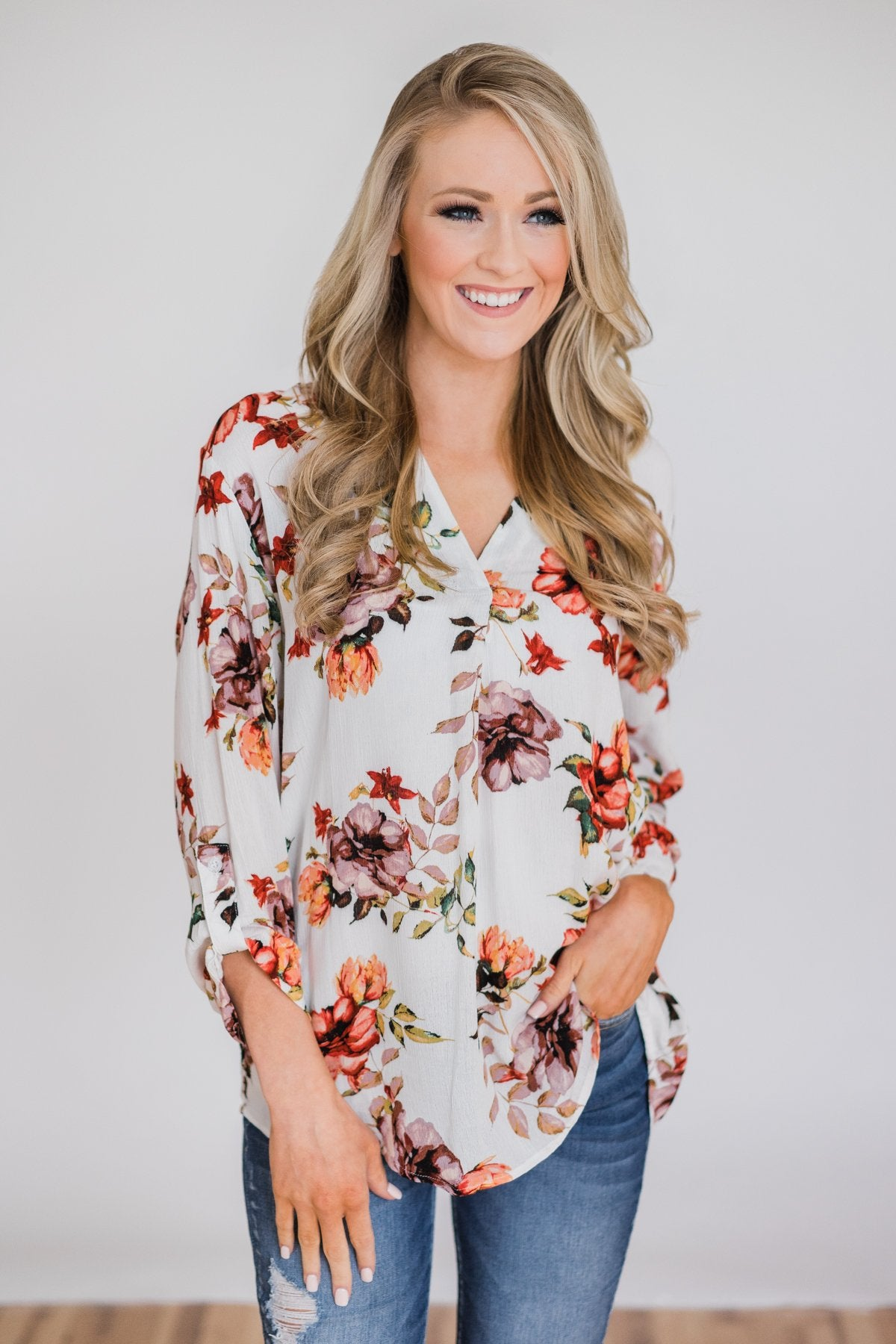 Calling My Name Floral Blouse- Ivory
