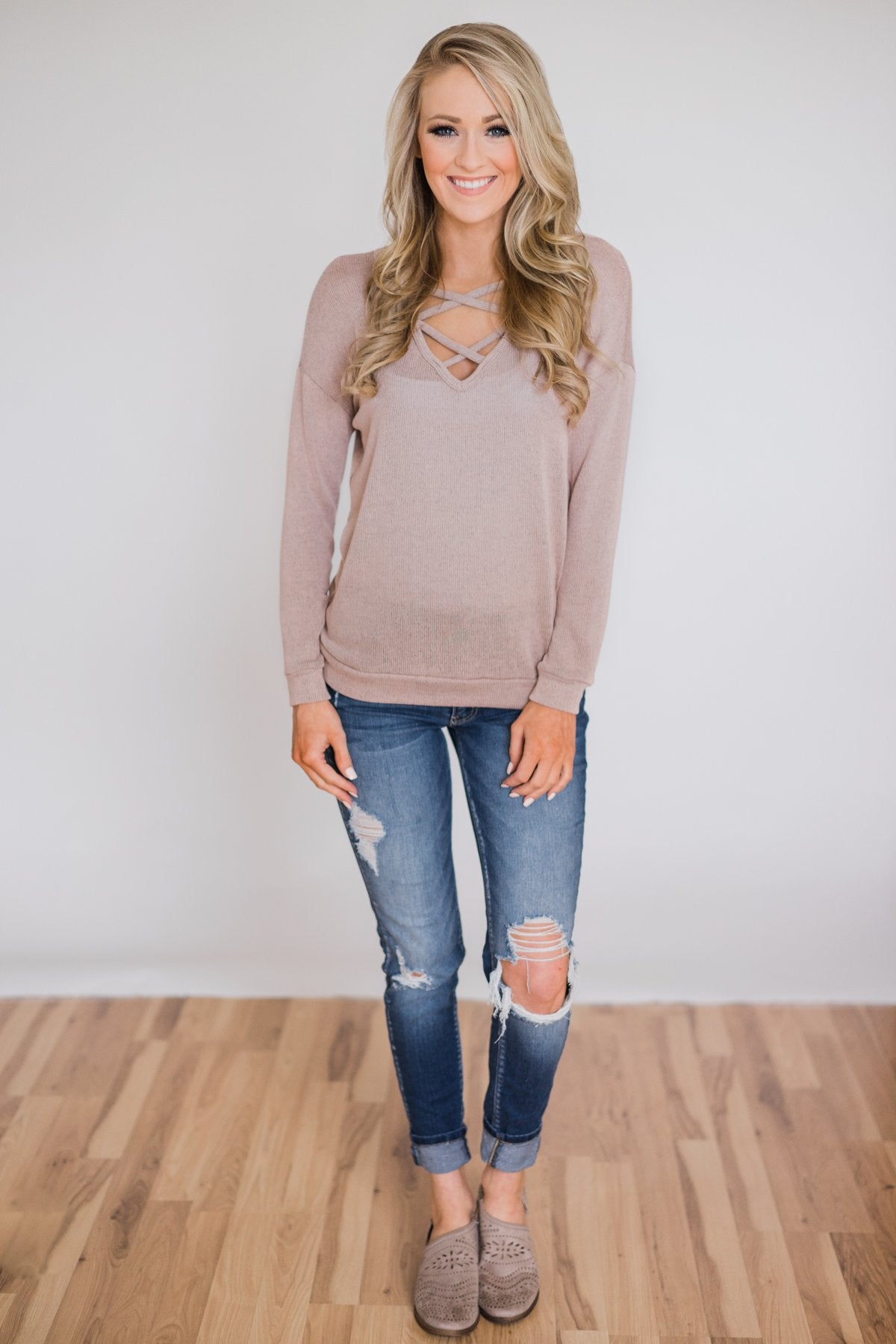 Comfy Knit Criss Cross Long Sleeve Top- Taupe