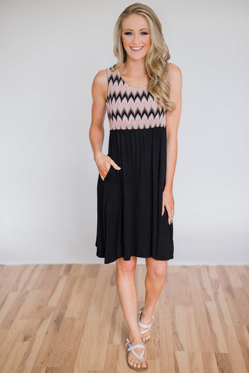 Someone Like You Chevron Dress- Black