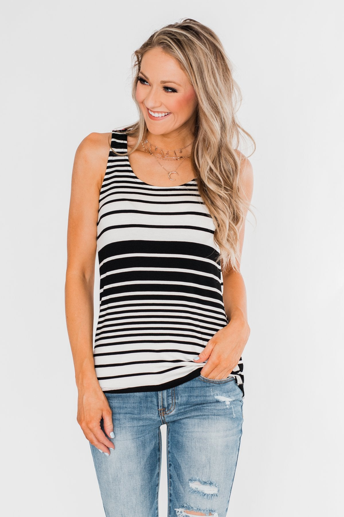 Falling For You Striped Bow Tank Top- Black & Neon Pink
