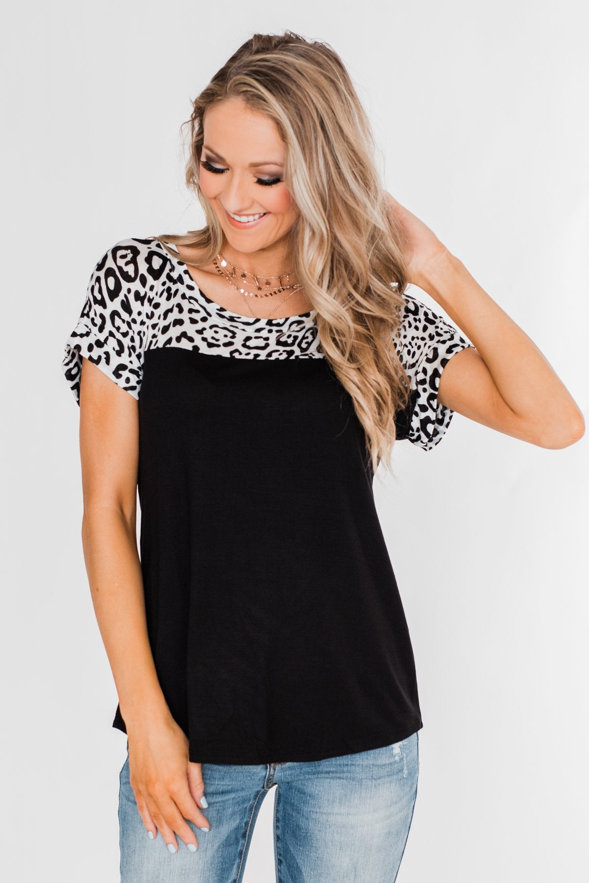 I Need a Good Time Leopard Top- Black