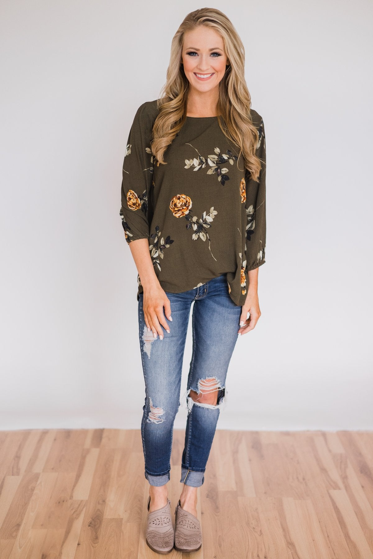 Button Up Back Floral Blouse- Hunter Green