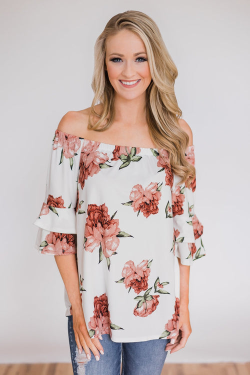 Bring on the Floral Off the Shoulder Top- Ivory