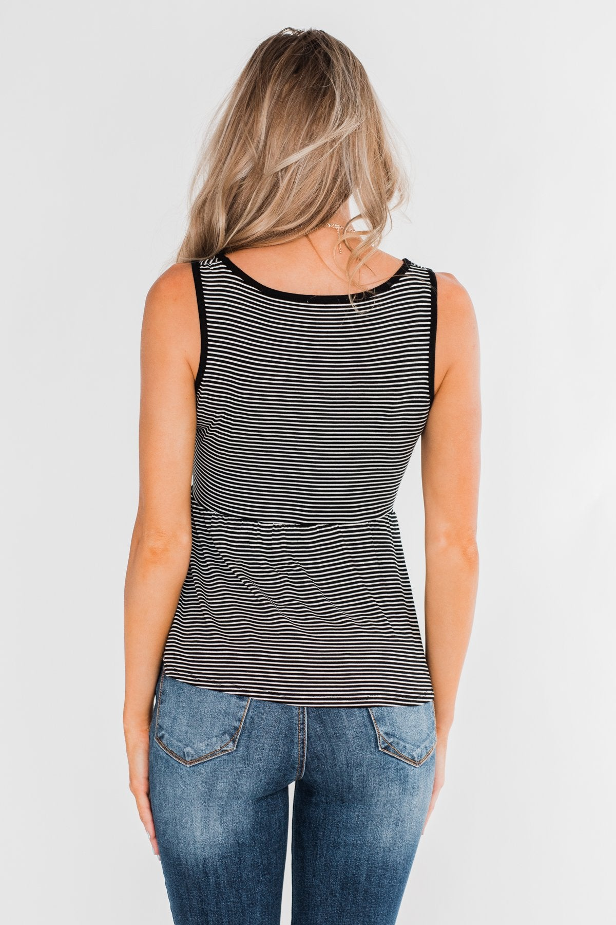 She's Got The Rhythm Striped Tank Top- Black