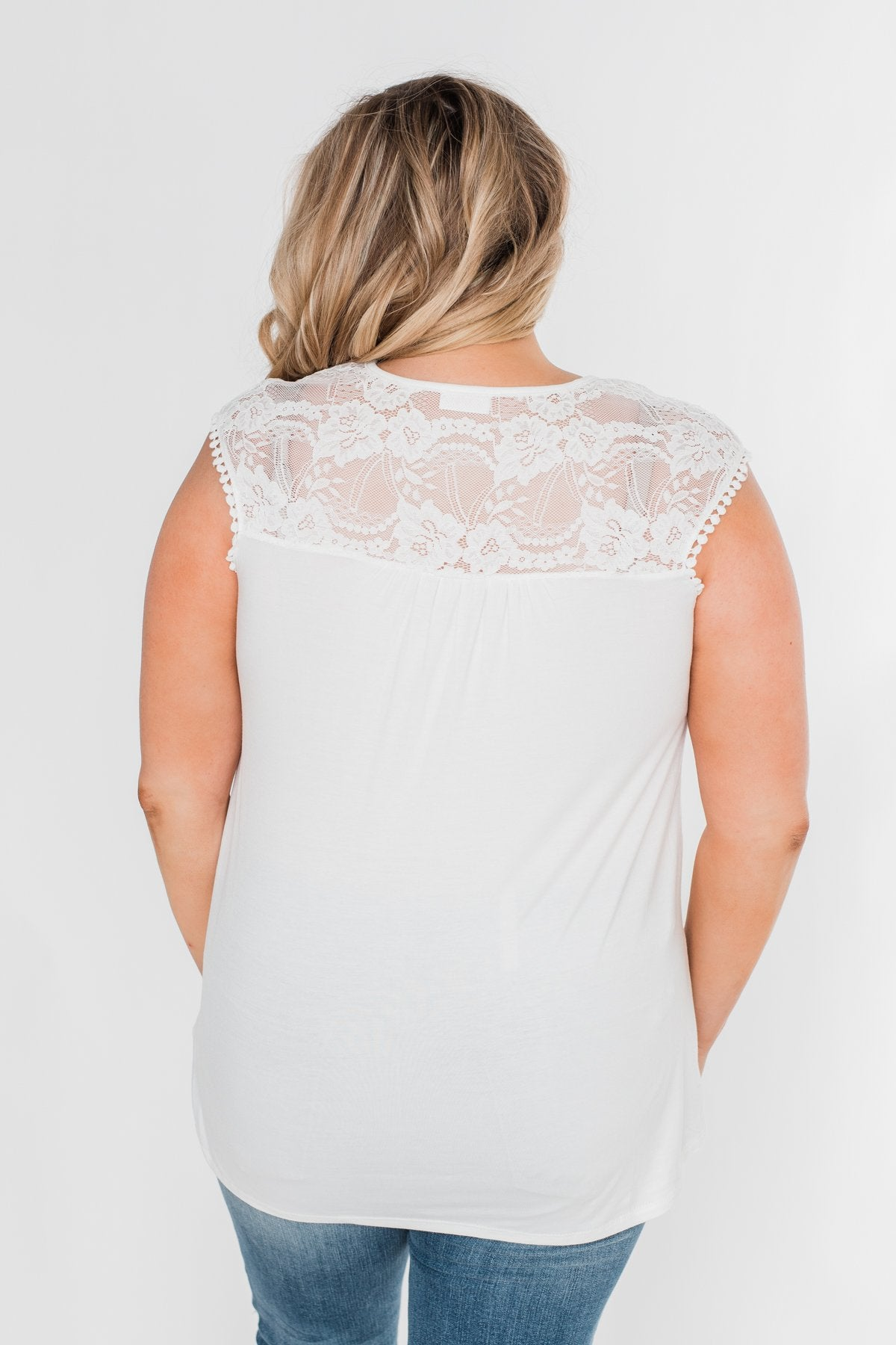 Won't Let You Go Lace Detail Top- White