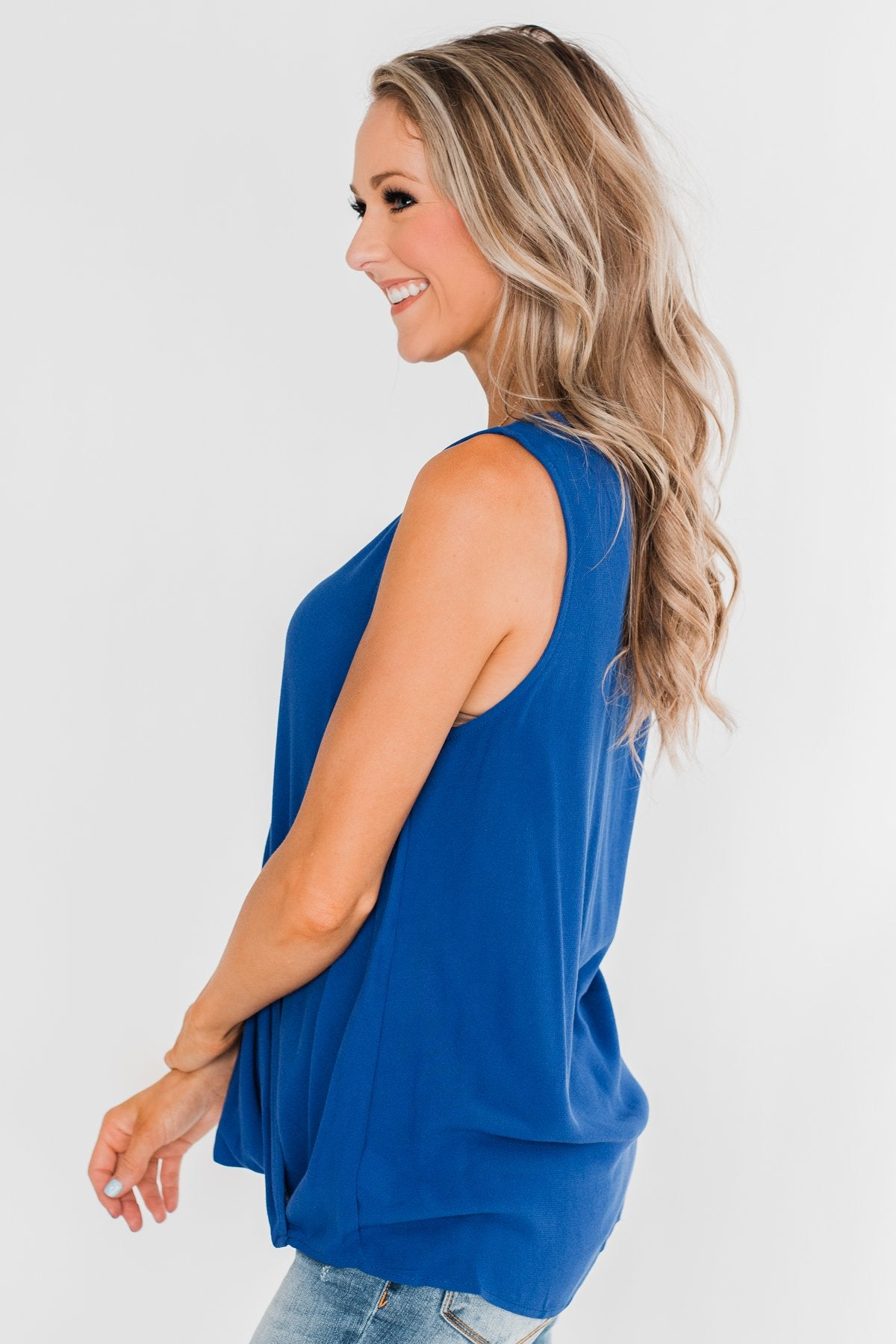 Close To Me Criss Cross Tank Top- Royal Blue