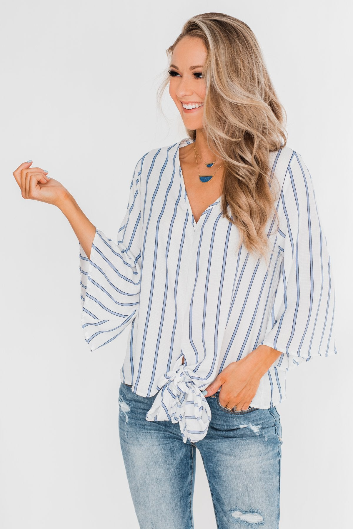 Endless Smiles Front Tie Polka Dot Top- Navy