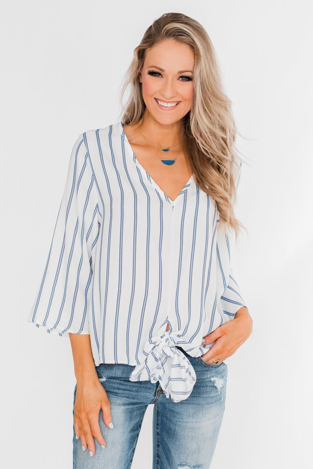 Light Of My Life Striped Blouse- Ivory & Light Blue