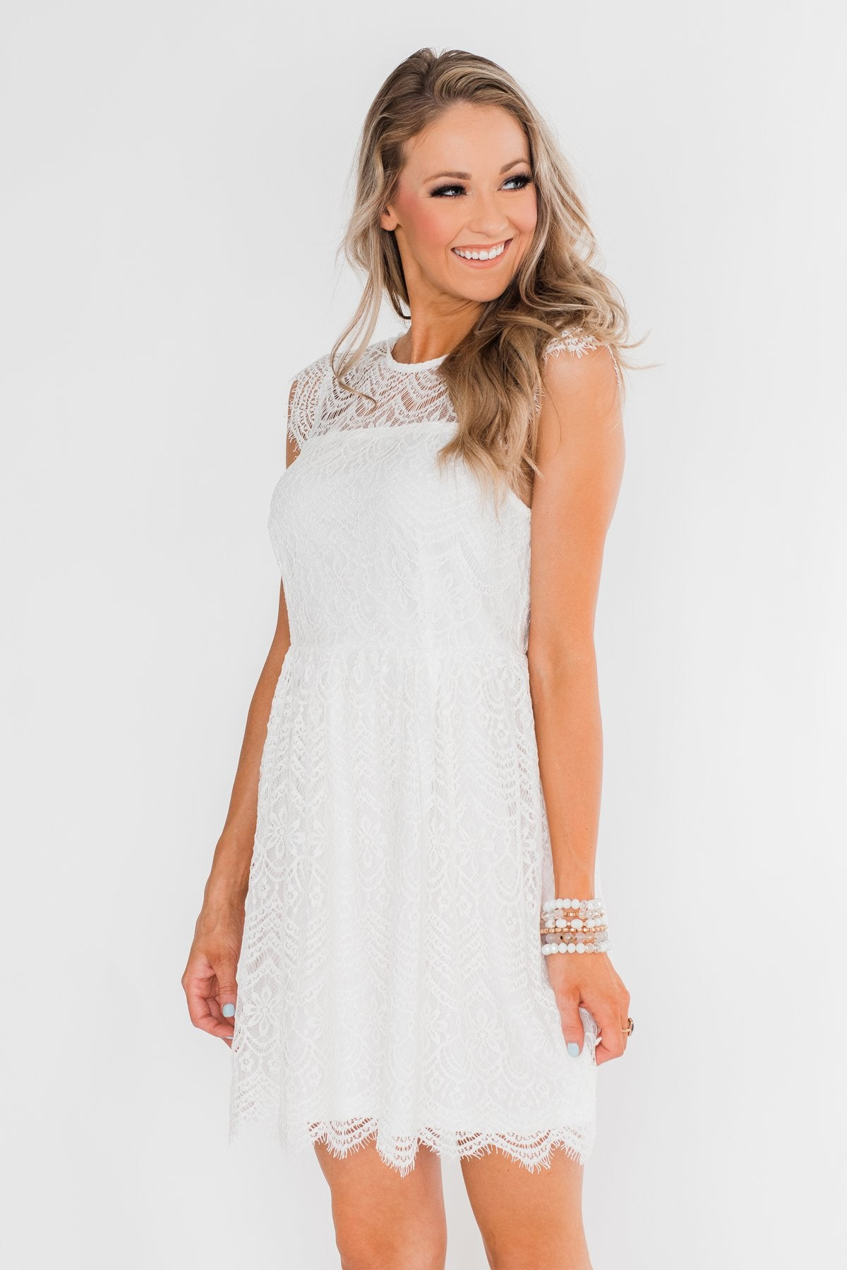 Thought About You Lace Dress- Ivory