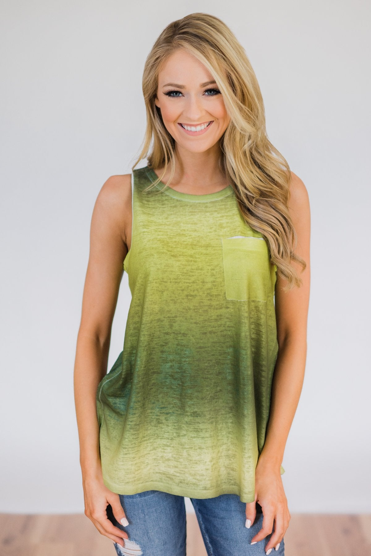 Ombré Tank Top- Green
