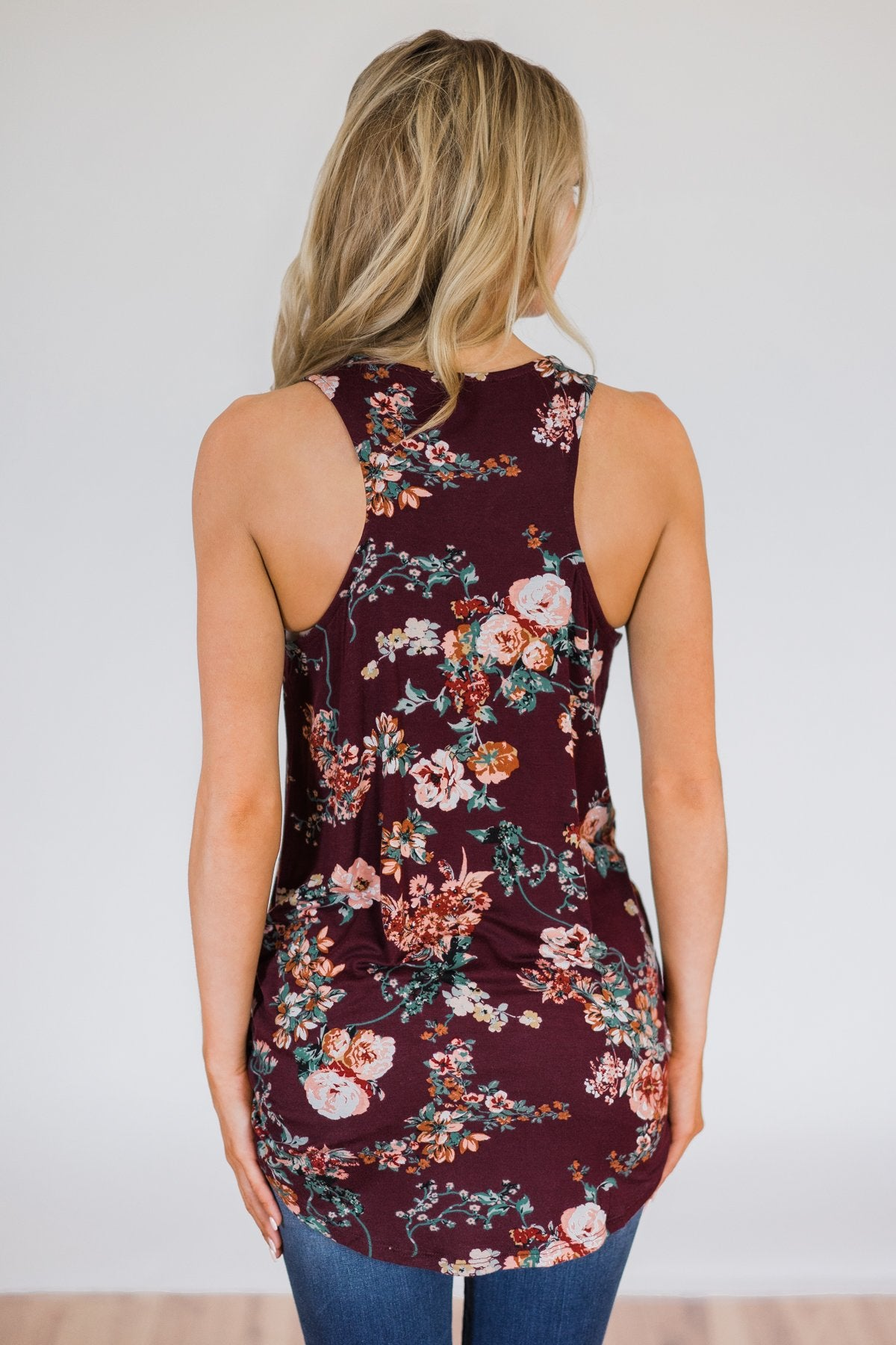 Feeling Fantastic in Floral- Burgundy