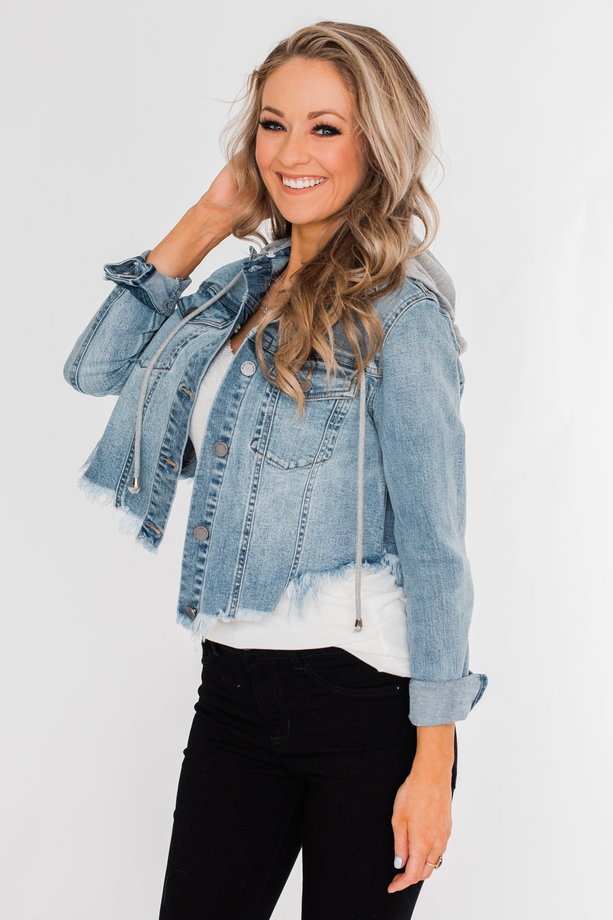 C'est Toi Frayed Hem Denim Jacket- Light Wash