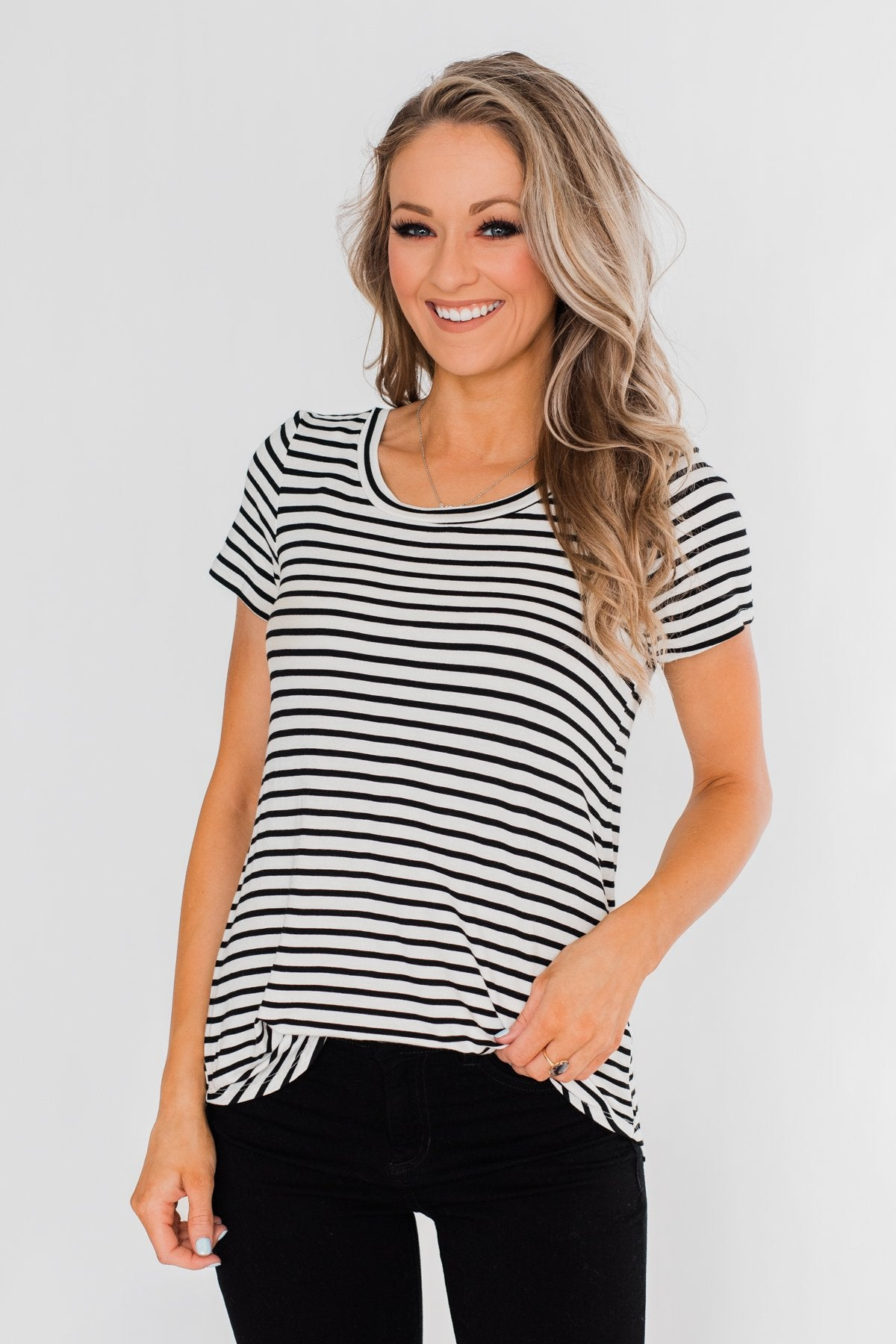 Lift Me Up Short Sleeve Striped Top- Black & Ivory