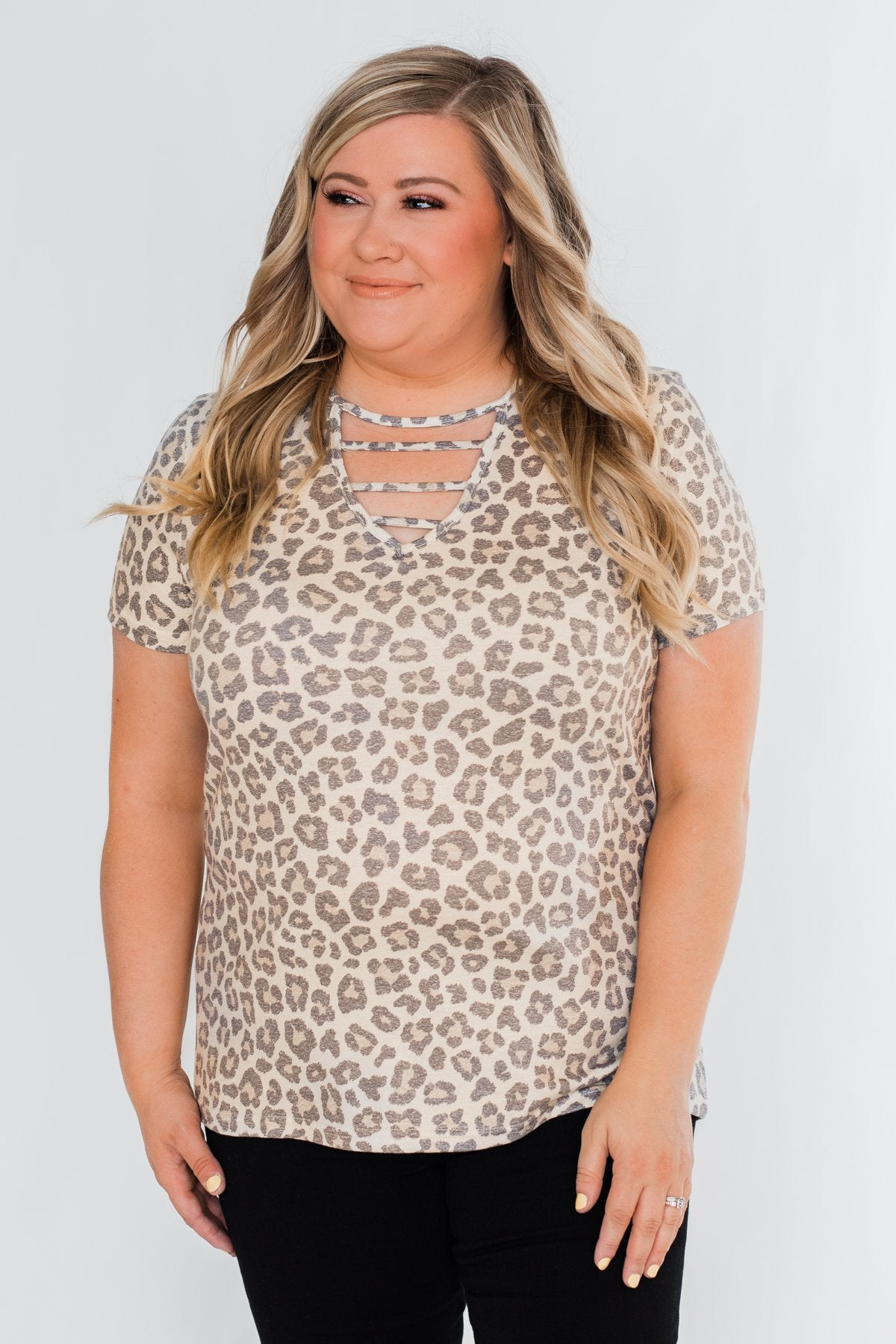 Cut Out V-Neck Short Sleeve Leopard Top
