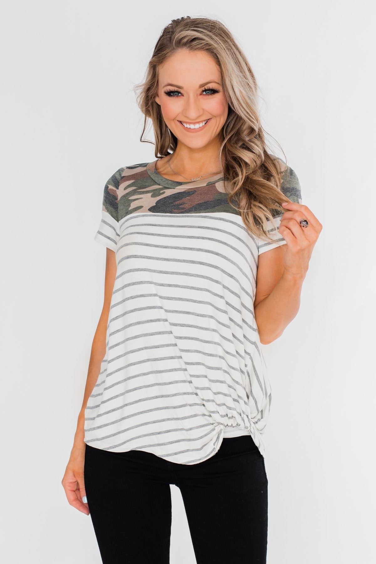 Short Sleeve Camo & Striped Knot Top- Ivory