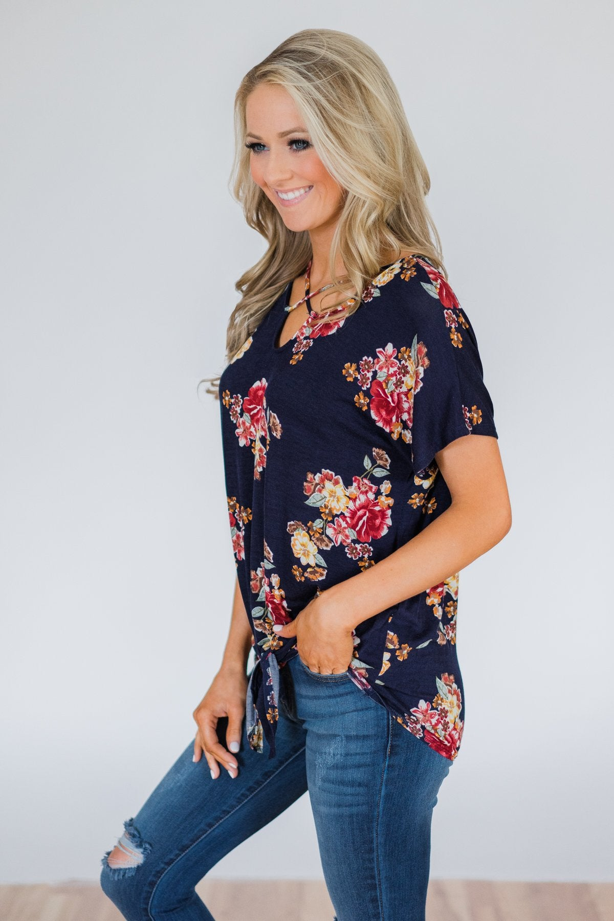 Be My Adventure Floral Criss Cross Knot Top- Navy