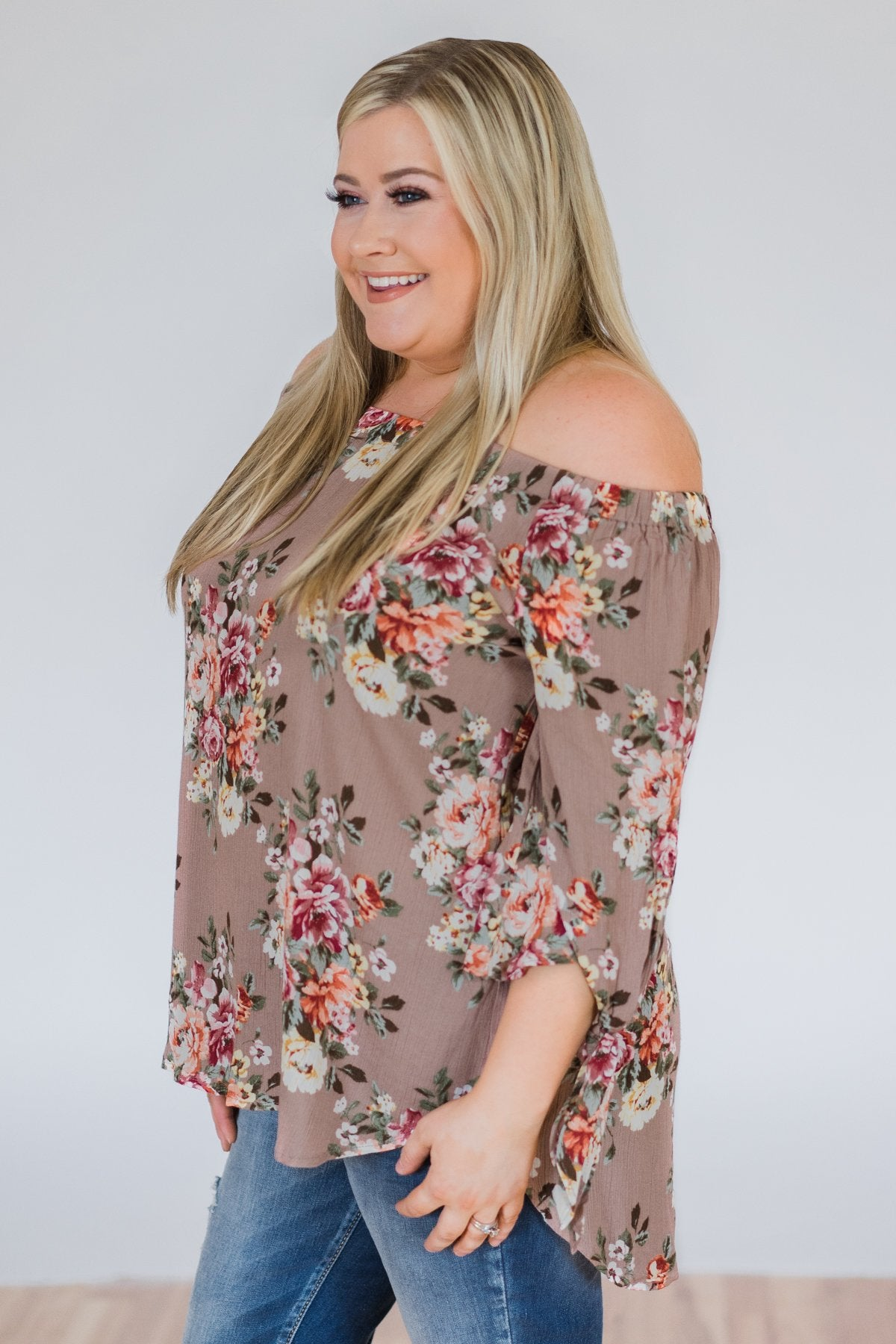 All I Want Floral Off the Shoulder Top- Mocha