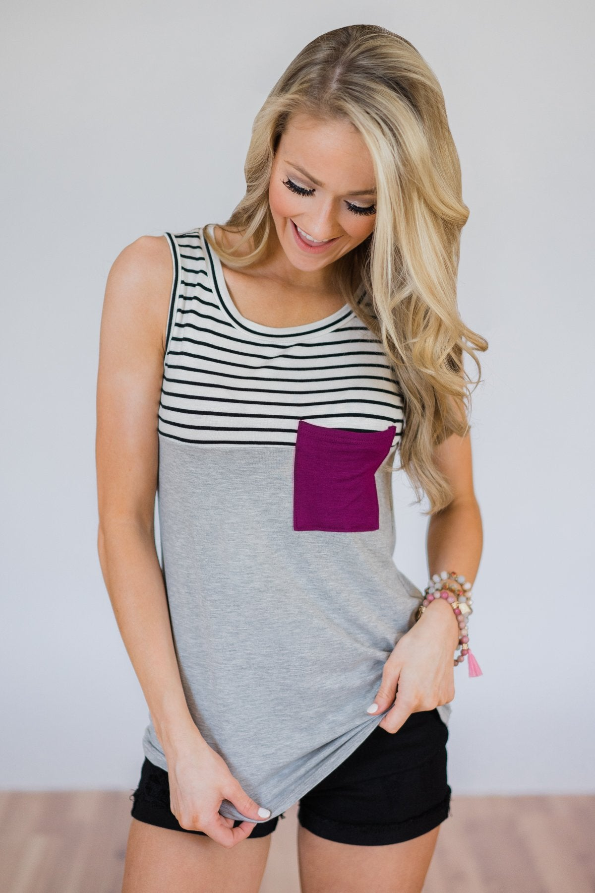 Day by Day Striped Pocket Tank Top- Magenta – The Pulse Boutique 3e955725f