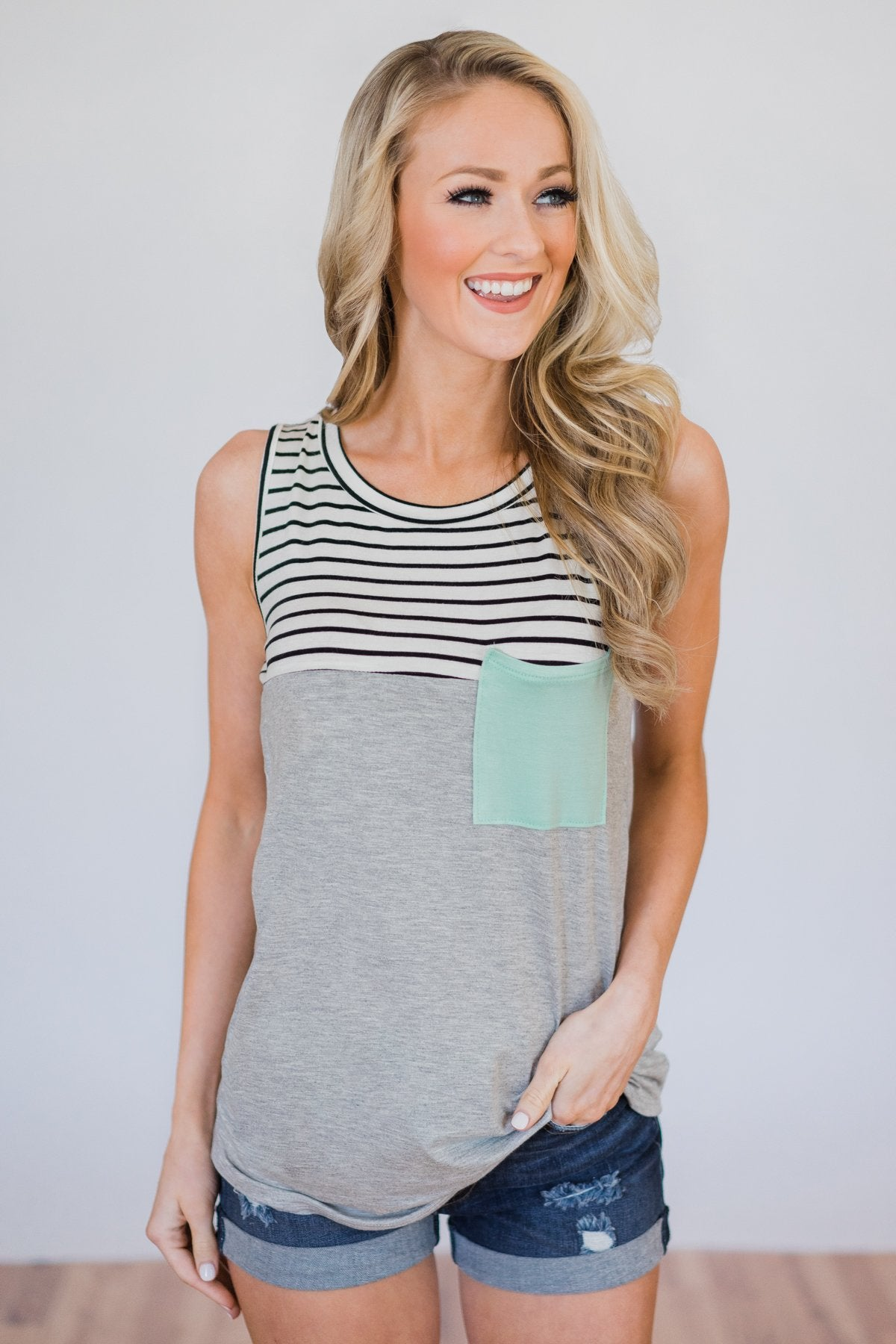 Day by Day Striped Pocket Tank Top- Mint