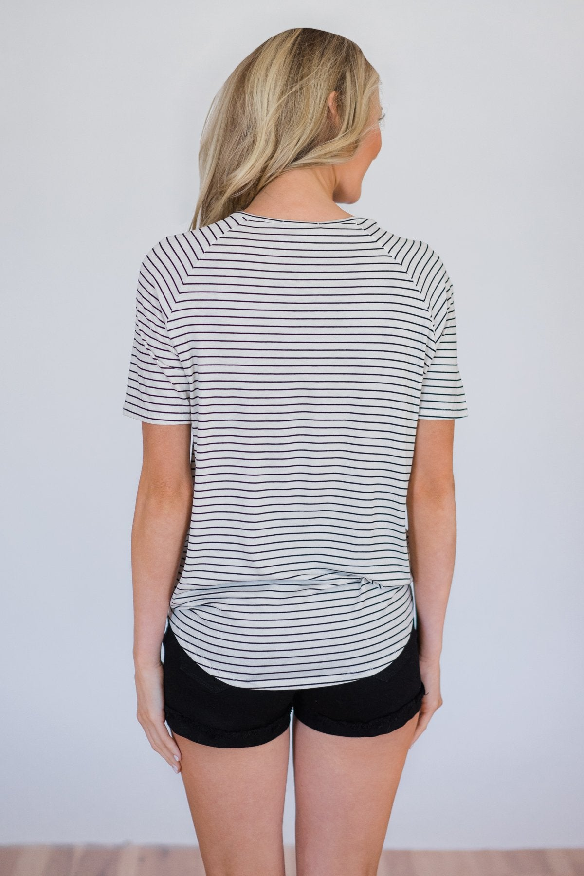 Already There Striped Criss Cross Top