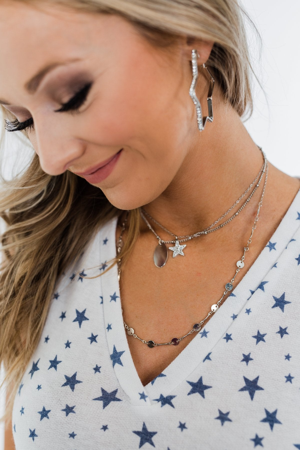 Glam Star Tier Necklace- Silver