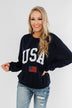 """USA"" American Flag Graphic Pullover Top- Navy"