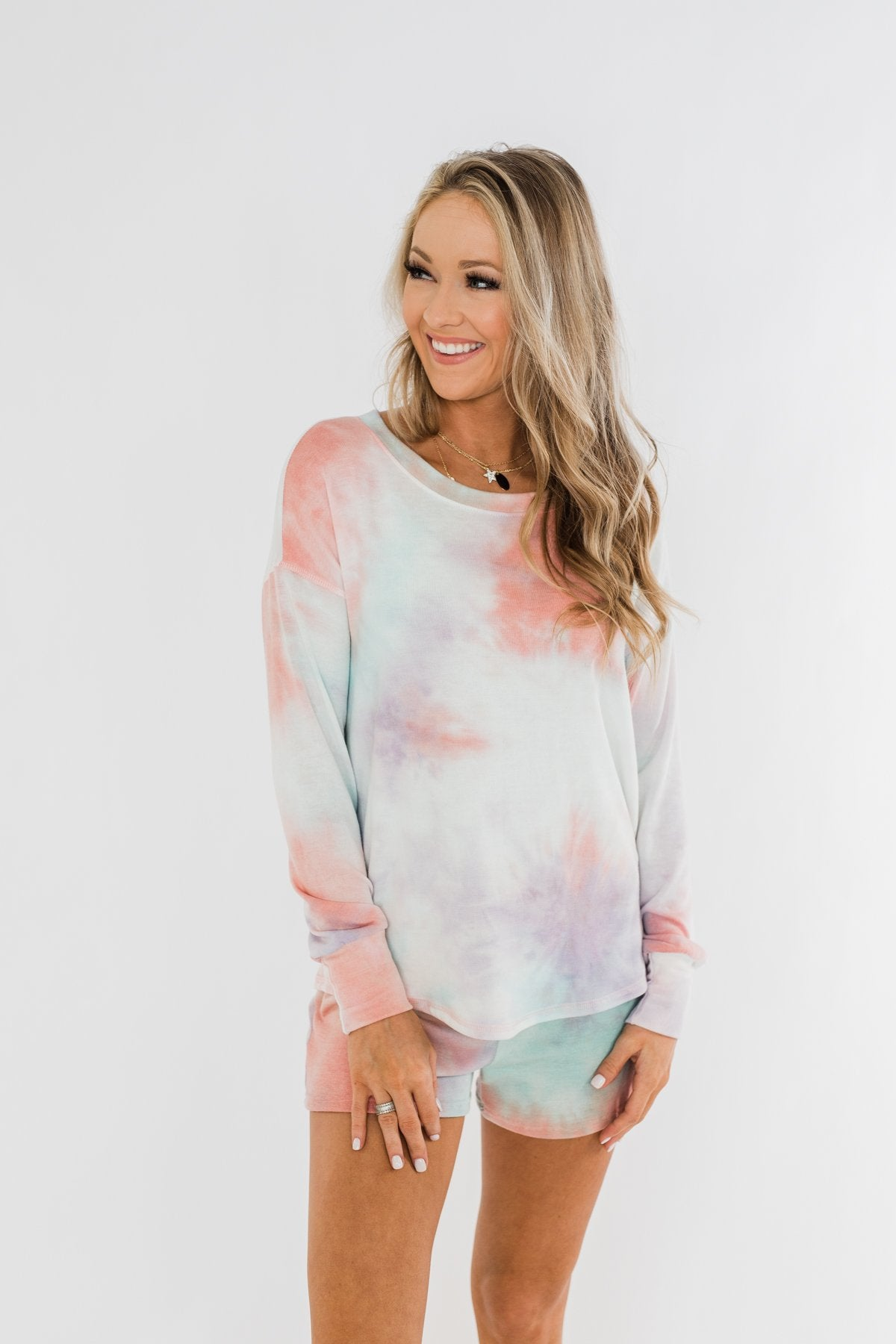Tie Dye Lounge Pullover Top- Coral, Purple, & Blue