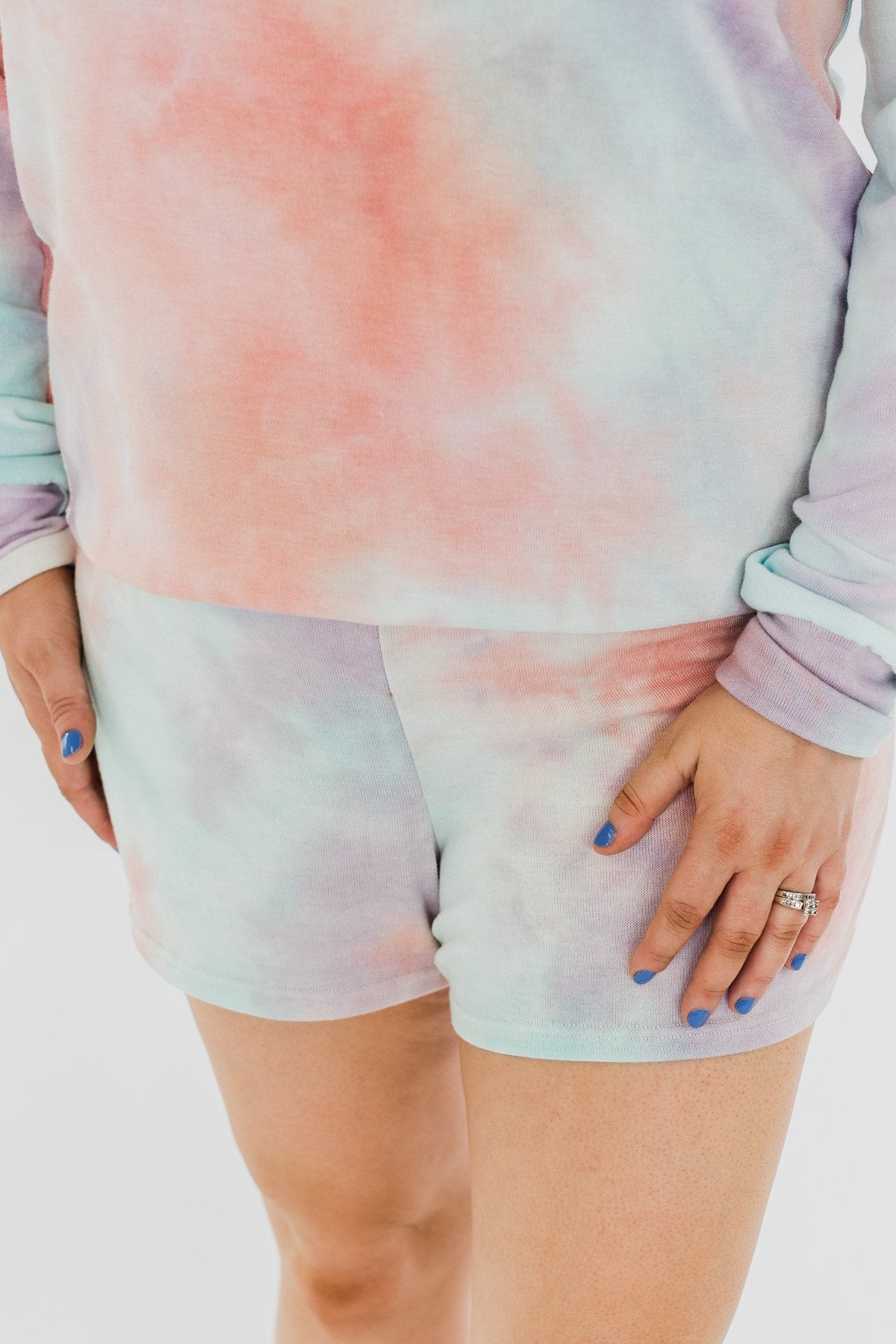 Tie Dye Lounge Shorts- Coral, Purple, & Blue