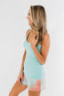 Pulse Basics Lace Trim Tank- Aqua