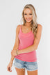 Pulse Basics Lace Trim Tank- Pink