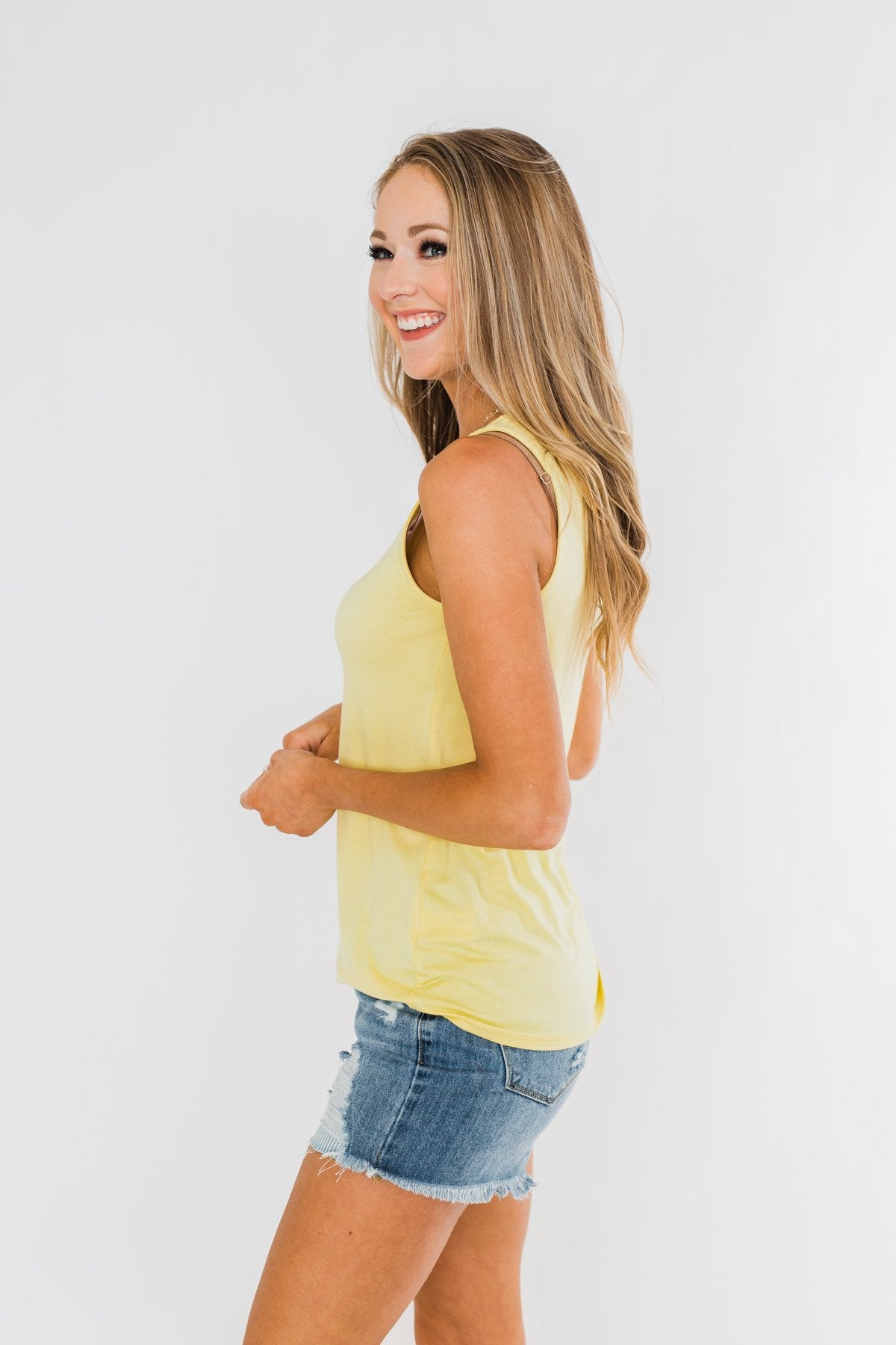 Places to Go Criss Cross Tank Top- Yellow