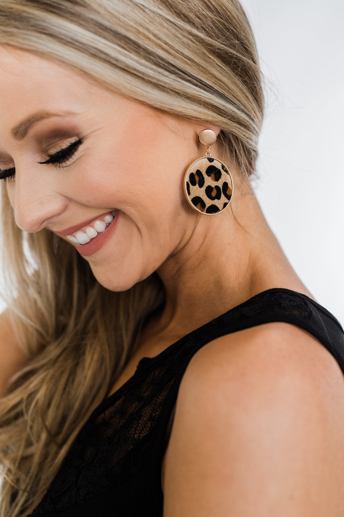 Flirty & Fierce Circle Pendant Brass Earrings- Leopard