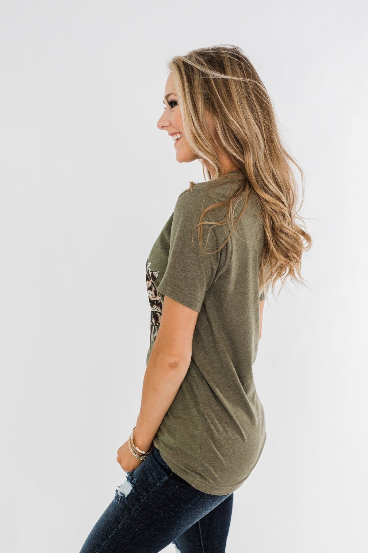 Leopard Print Sunflower Graphic Tee- Olive