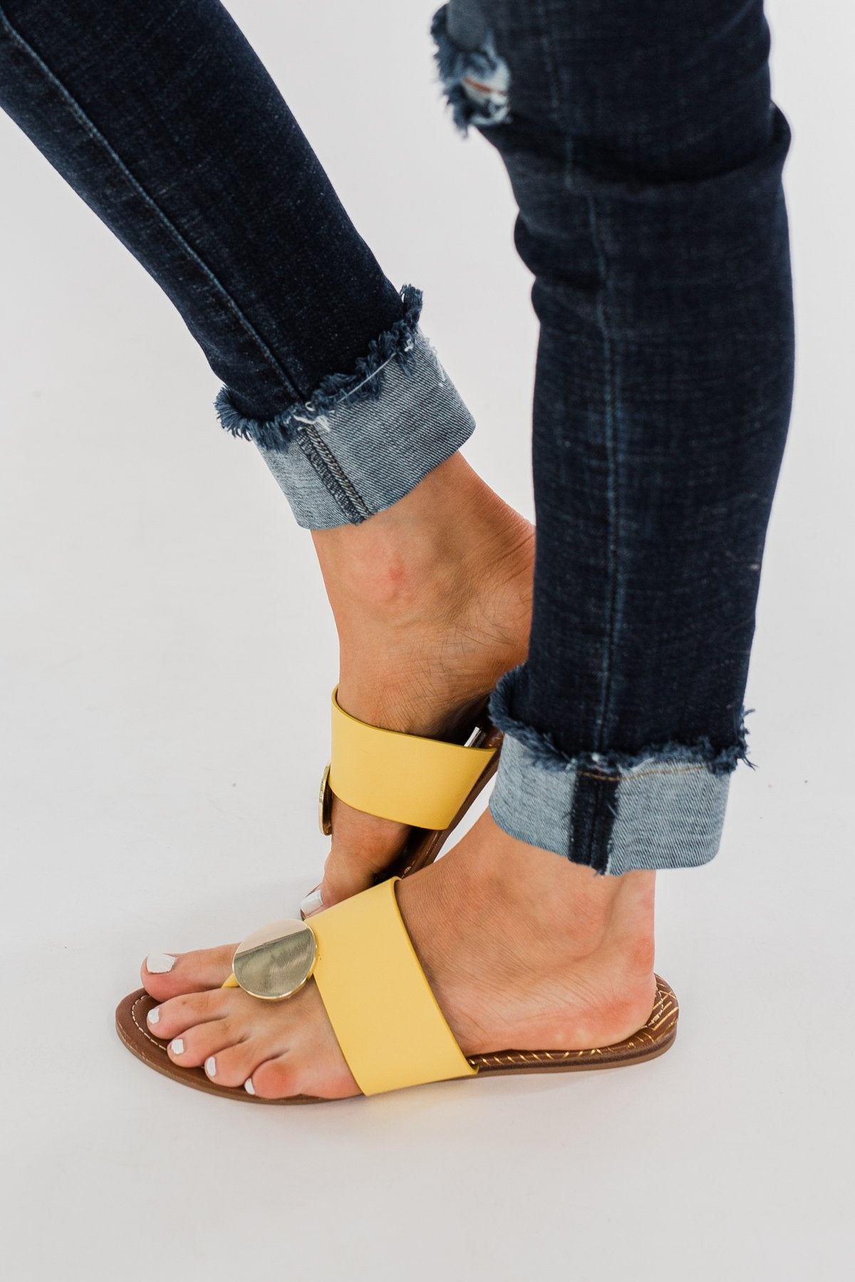 Qupid Bellini Sandals- Yellow