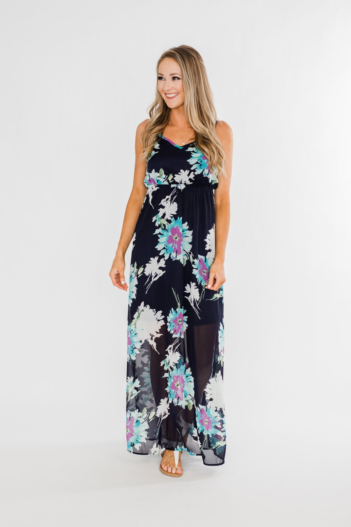 Finest Moment Navy Floral Maxi Dress