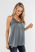 Lasting Love V-Neck Racerback Tank Top- Steel Grey